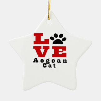 Love Aegean Cat Designes Ceramic Star Ornament