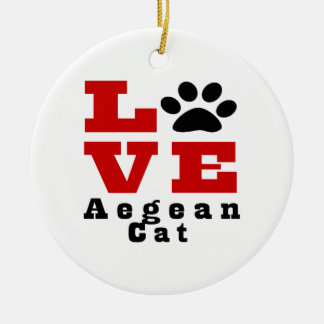 Love Aegean Cat Designes Round Ceramic Ornament