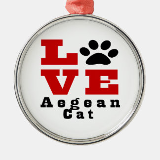 Love Aegean Cat Designes Silver-Colored Round Ornament