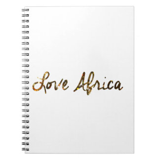 Love Africa Gold Glitter B&W Stripes Notebook