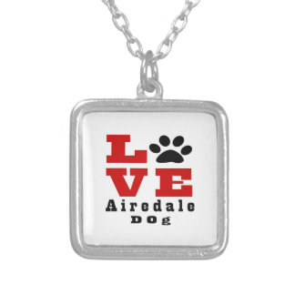 Love Airedale Dog Designes Silver Plated Necklace
