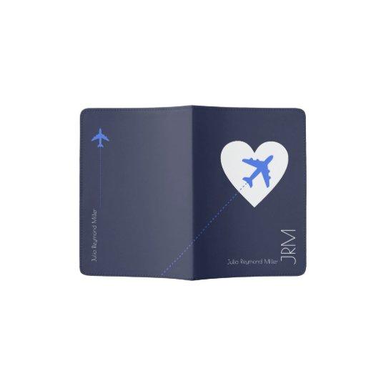 love airplane travel, blue passport holder