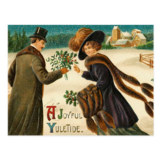 Love -Ajoyful yuletide -vintage christmas postcard