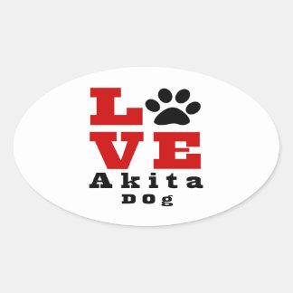 Love Akita Dog Designes Oval Sticker