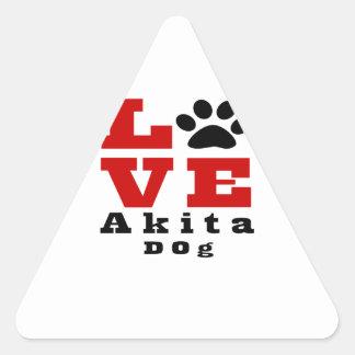 Love Akita Dog Designes Triangle Sticker