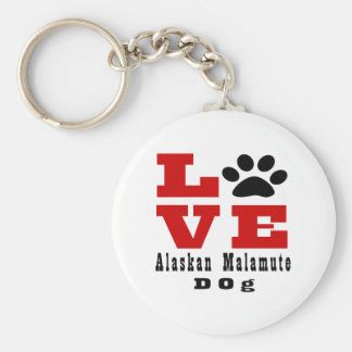 Love Alaskan Malamute Dog Designes Basic Round Button Keychain