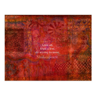 Love all, trust a few, do wrong to none postcard