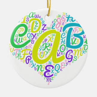 love alphabet ceramic ornament