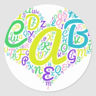 love alphabet classic round sticker