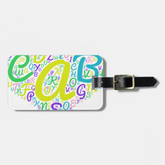 love alphabet luggage tag