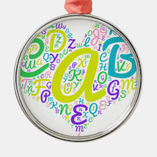 love alphabet metal ornament