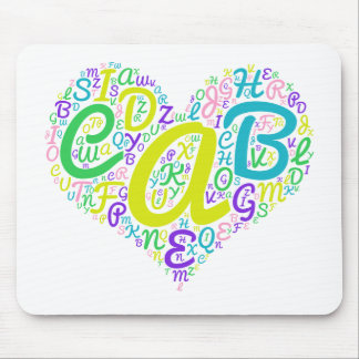 love alphabet mouse pad