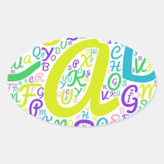 love alphabet oval sticker