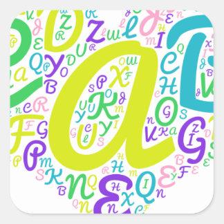 love alphabet square sticker