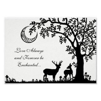 Love Always Enchanted Moon Tree and Deer Couple Poster