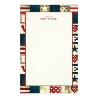 Love America Patriotic 4th of July Stationery