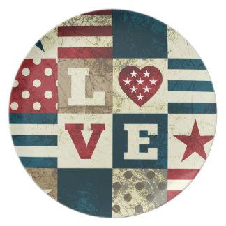 Love America Patriotic Plates