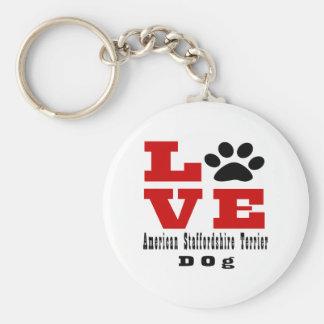 Love American Staffordshire Terrier Dog Designes Basic Round Button Keychain