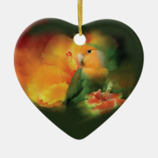 Love Among The Hibiscus Heart Ornament