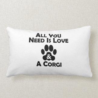 Love And A Corgi Lumbar Pillow