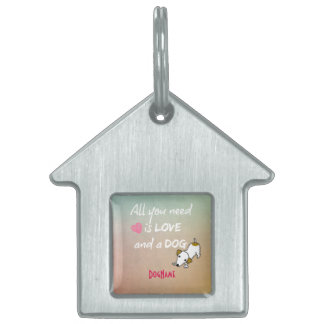 Love and a Dog Quote with Name Pet Name Tags