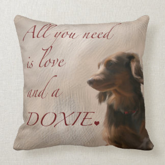 Love and A Doxie Throw Pillow