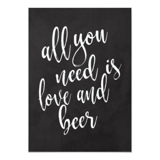 Love and beer affordable chalkoard wedding sign card