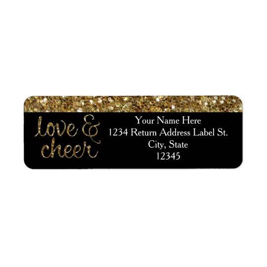 Love and Cheer Glitter Shiny Effect Christmas Return Address Label