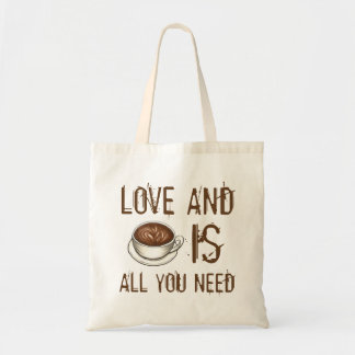 Love and Coffee is All You Need Latte Mug Tote Budget Tote Bag