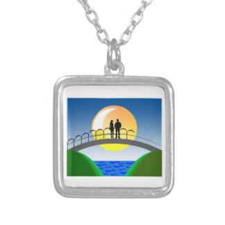 love and couples silver plated necklace
