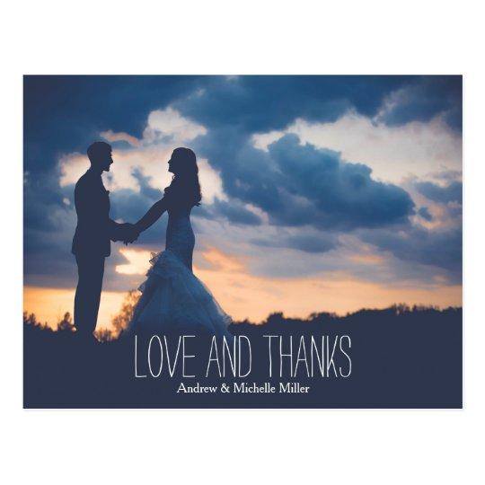Love and hanks wedding thank you postcard