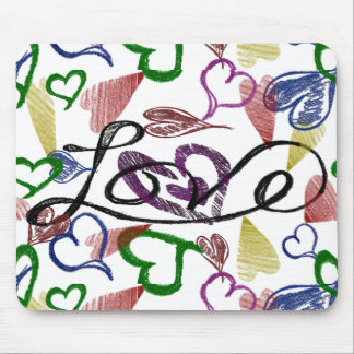 Love and Hearts Collage Mouse Pad