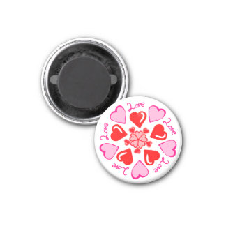 Love and Hearts Round Refrigerator Locker Magnet