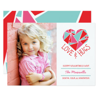 "Love and Hugs Photo Valentine Card 5"" X 7"" Invitation Card"