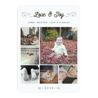 Love and Joy | Christmas Multi Photo Collage Card