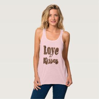 Love and Kisses Romantic Elegant Cute Typography Tank Top