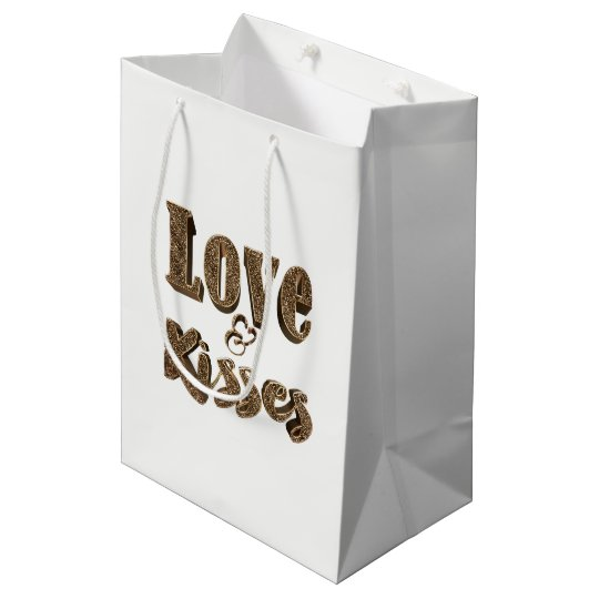 Love and Kisses Romantic Elegant Gold Typography Medium Gift Bag