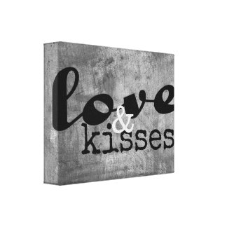 love and kisses wrapped canvas wall art gray