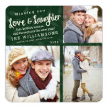 """Love and Laughter Holiday Photo Card / Green 5.25"""" Square Invitation Card"""