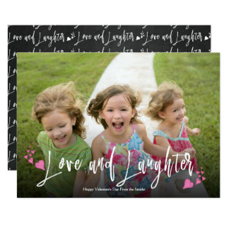 Love and Laughter Valentine Typography|Photo Card