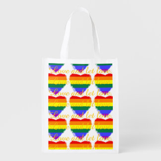 Love and let love rainbow hearts pattern market totes
