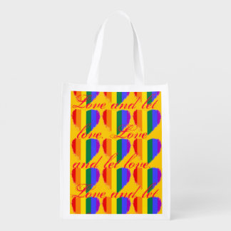 Love and let love rainbow hearts pattern on yellow market totes