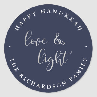 Love and Light   Blue Happy Hanukkah Classic Round Sticker
