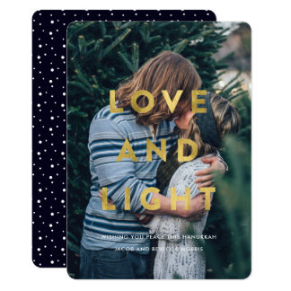 Love and Light | Faux Gold Overlay Hanukkah Photo Card