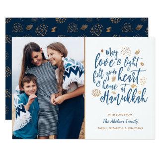 Love and Light Hanukkah Photo Flat Card