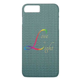 Love and Light in gold rainbow colors aqua marine iPhone 8 Plus/7 Plus Case