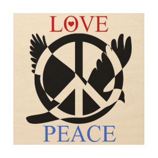 Love And Peace 2 Wood Wall Decor