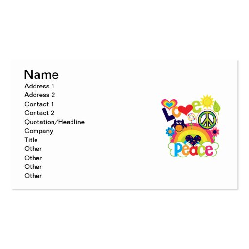 Love and Peace Baby Business Card Template