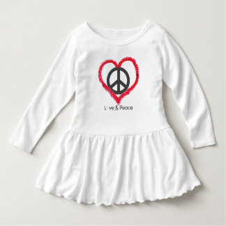 Love and Peace Toddler Ruffle Dress