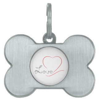 LOVE and red Heart Pet ID Tag
